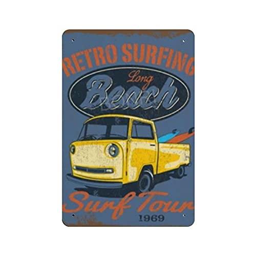 Vector vintage surf car illustration cartel de cartel de pared de hojalata pared de Metal de hierro decoración de pared de aluminio placa decoración Cafe Bar 20x30cm