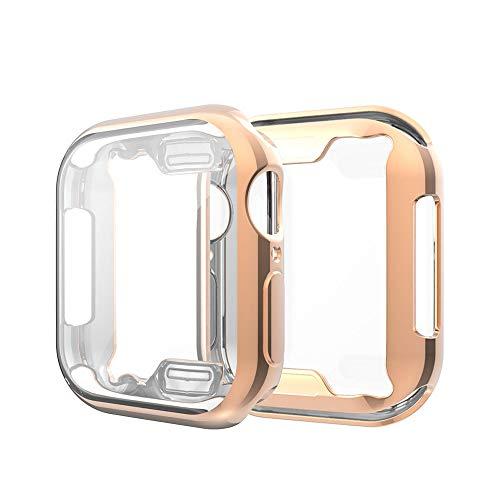 Amial Europe -- Cover Compatibile con Apple Watch iWatch Serie 1/2/3 e 4/5 Proteggi Schermo in TPU Custodia Morbida [Extra Protezione] [Anti-Graffio] [Ultra Sottile] (40mm, Oro Rosa)