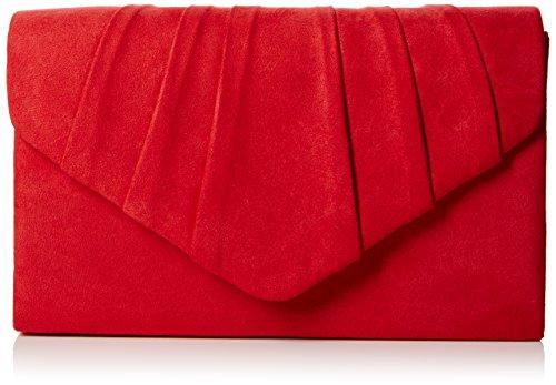 SwankySwans Bolso de mano Iggy de ante de terciopelo para fiesta de graduación, color Rojo, talla Talla Unica