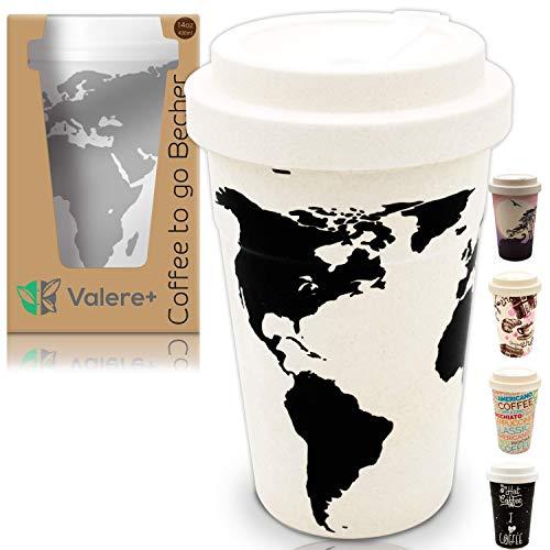 Valere + Coffee-to-Go Bambus-Becher mit Schraubdeckel | Mehrweg | lebensmittelecht | spülmaschinenfest | Verschluss