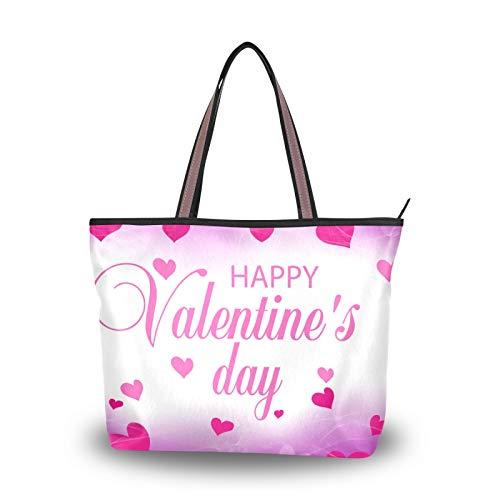NaiiaN Bolsos de correa de peso ligero para mujeres, niñas, señoras, estudiantes, púrpura, rosa, corazones, flores, bolso de mano de San Valentín, bolsos de hombro, monedero, compras