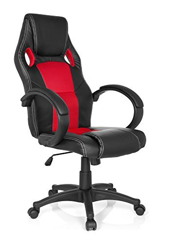 MyBuero Chaise Gaming / Chaise de bureau GAMING ZONE PRO simili-cuir / tissu à maille noir/rouge