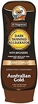 Australian Gold Dark Tanning Accelerator Lotion with Bronzer, 8 Ounce