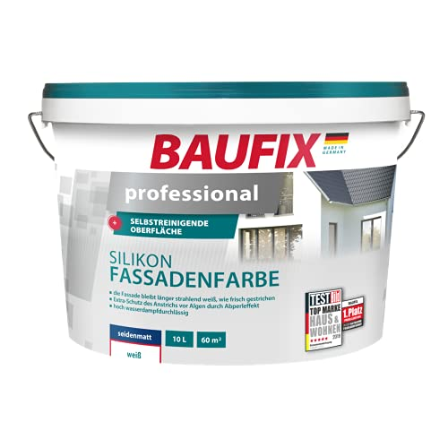 BAUFIX professional Silikon-Fassadenfarbe weiß, 10 Liter, selbstreinigende Fassadenfarbe mit Lotuseffekt, dauerhaft weiß, mit Anti-Grün Algenschutz, atmungsaktiv