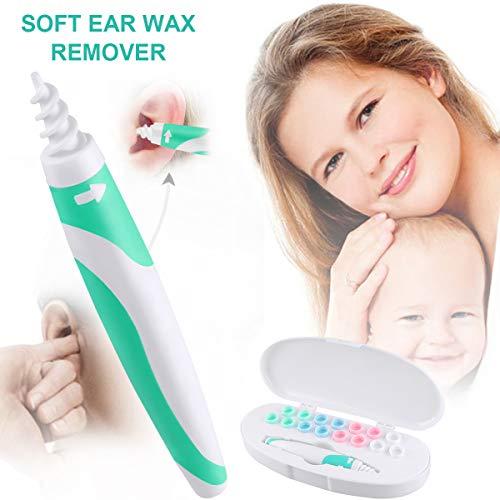 Ohren Reiniger,Ohrenreiniger für Menschen, Ear Cleaner, Spirale Ear Wax Remover, Ohrenreiniger mit 16 Silikon Ersatzköpfen, Ohrwachsentferner für Kleinkinder,Babies,Jugendliche Erwachsene