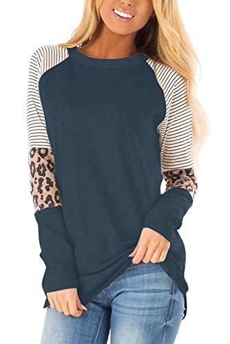 QAKEHU Damen Pulli Langarm T-Shirt Streifen Rundhals Leopard Ausschnitt Lose Bluse Langarmshirts Hemd Pullover Sweatshirt Oberteil Tops Shirts Leopard Navy S