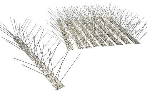 10 Stück (5 m) Taubenspikes 5 reihig auf 50 cm Edelstahlleiste, Taubenabwehr, Vogelabwehr - DIREKT VOM HERSTELLER