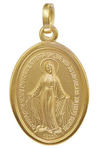 trendor Milagrosa Anhänger Gold 750 (18 Karat) 20 mm zauberhafter Echtgold Anhänger für Damen und Herren, Abbild der Mutter Jesu, Goldschmuck, Madonna, 75312