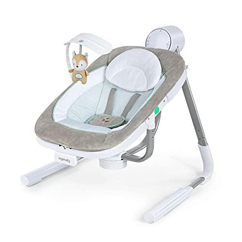 Ingenuity, AnyWay Sway, PowerAdapt tragbare Babyschaukel Ray, Schaukel und Sitz mit Vibrationen in einem, 180° drehbar, 3 Schaukelrichtungen, mehr als 16 Melodien, USB Kabel