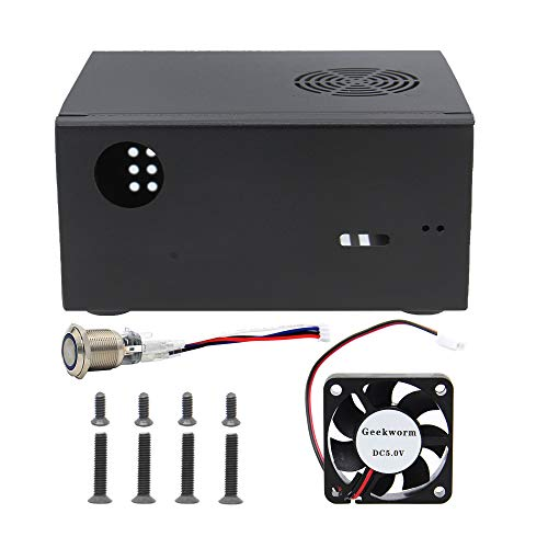 Geekworm X825-C8 (X825 V2.0) Metal Case+Power Switch+Cooling Fan Support X825 V2.0 2.5 inch SATA SSD/HDD Shield & Raspberry Pi 4 Model B & X735 Only(Not Support X825 V1.5)