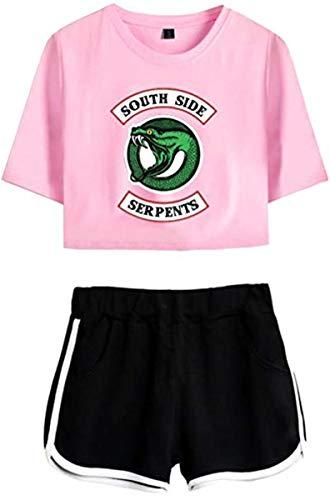 Riverdale Southside Serpents Damen Kurzarm T-Shirts + Kurze Hose Sets Sport Streetwear Bekleidungsets