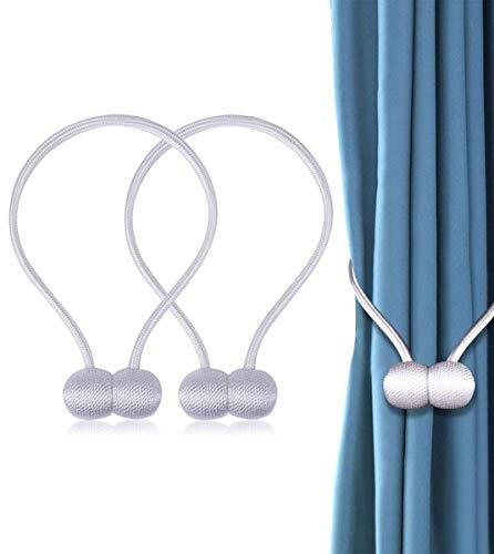 JIeGuanG Vorhang-Bänder, 2 Stück, magnetische Vorhänge Schnallen, Seil, Vorhänge Halter, Schnallen für Dekoration, Weiß