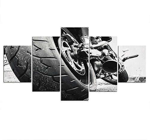 wodclockyui 5 Piezas Cuadro de Lienzo - Neumático de Locomotora Motocicleta Pintura 5 Impresiones de imágenes Decoración de Pared para el hogar Pinturas y Carteles de Arte HD 200cmx100cm Sin Marco