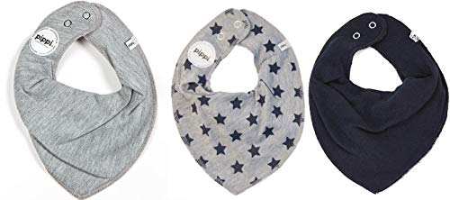 Lot de 3 écharpes pour bébé - Différents motifs - Pippi - Bleu - S