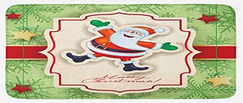 HARXISE Alfombras para Cocina Baño de Cocina,Navidad, Adornos temáticos Divertidos de Santa en Navidad Diseño de año Nuevo Vintage, Verde Pistacho y Multicolor,para Dormitorio Baño