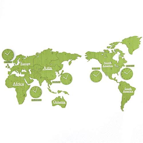 Pillowcase Wandaufkleber Weltkarte Uhr - Persönlichkeit DIY 3D Holz Weltkarte mit 5 Ländern Uhren - Silent Non Ticking Quartz - Home Wandbehang Art Decor Aufkleber - 86,6 & mal; 45 '', Grün