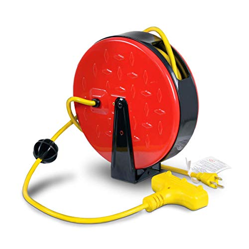 ReelWorks Mini Extension Cord Reel Retractable 16AWG x 30' Foot 3C/SJTW Cable Triple Tap Connector Power 10A 125VAC 1250W