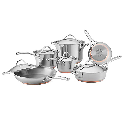 Anolon Nouvelle Stainless Steel Cookware Pots and Pans Set, 11 Piece