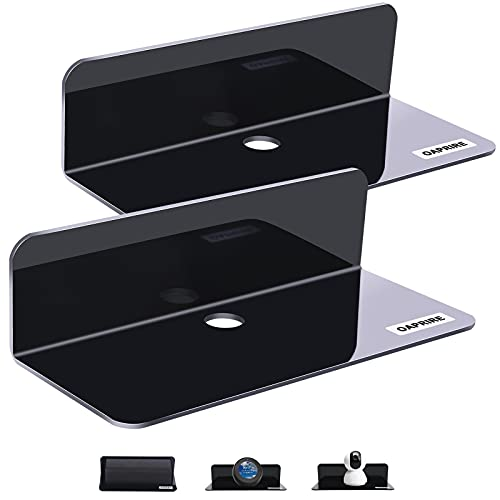 OAPRIRE Acrylic Floating Wall Shelves Set of 2, Damage-Free Expand Wall Space, Small Display Shelf for Smart Speaker/Action Figures with Cable Clips