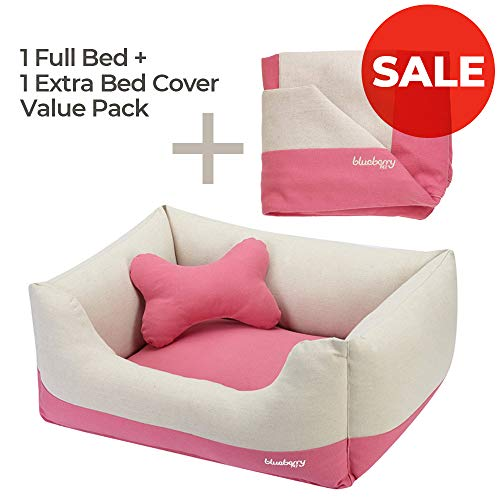 Blueberry Pet Baby Pink & Beige Dog Bed Value...