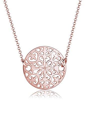 Elli Halskette Elli Damen Halskette mit Ornament Symbol Münze Orientalisch in 925 Sterling Silber 45 cm lang