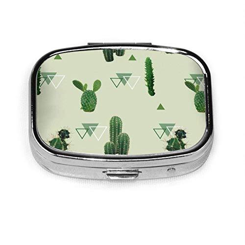 Caja de píldoras cuadrada de plata con diseño de cactus geométrico, diseño de plantas exóticas, para bolsillo o monedero