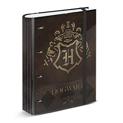 Harry Potter Gold-Carpesano 4 Anillas Papel Cuadriculado, Marrón