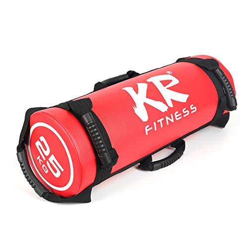 Topchances Power Bag Weighted Training Sandbag-Adjustable Weight Fitness, Sandbag Weight Training Power Bag With Handles, 5kg/10kg/15kg/20kg/25kg (15KG, Red)
