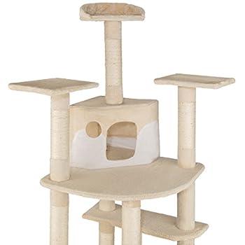 TecTake Arbre à chat griffoir grattoir geant | 2 grottes | XXL 204cm - diverses couleurs au choix - (beige-blanc | no. 402108)