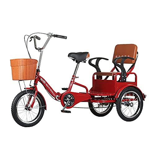 OHHG Triciclo una Sola Velocidad 16 Pulgadas Asiento Trasero Bicicleta Crucero 3 Ruedas Marco Acero Alto Carbono Triciclo Adultos Personas Mayores Mujeres Hombres Carga 250 KG