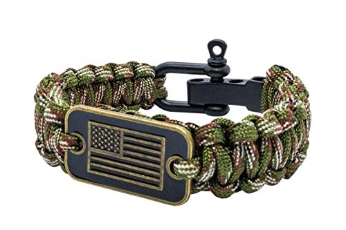 aarrows & Co USA Flag Paracord Survival Bracelet High Tensile Cobra Weave with Adjustable Bow Shackle (Green Camo)