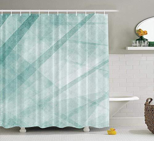 remmber me Künstlerische Duschvorhang abstrakte Moderne blau grün & weiß mit Dreiecken Streifen Wohnkultur Stoff Duschvorhang Badezimmer Polyester Bad Vorhang mit 12 Haken