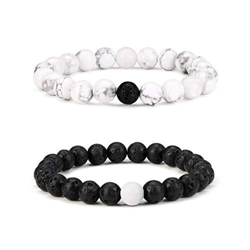 Byson 2 Pcs Couple Distance Relationship Bracelets 8mm Natural Black Lava Stone & White Howlite Energy Beads Ying Yang Balance Essential Oil Diffuser Bracelet Banglet for Lovers