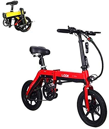 Leifeng Tower Bicicleta eléctrica plegable de alta velocidad para adultos, bicicleta eléctrica de 36 V con batería de litio de 10,0 Ah, velocidad máxima de 25 km/h, freno de disco (color: rojo)