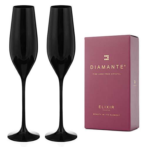 DIAMANTE Gafas de cristal negro – Colección 'Ghost Black' (flautas de champán)