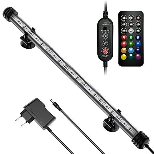 Aquarium LED Beleuchtung, Unterwasserbeleuchtung für 45/60cm Aquarium, 6.3W 39cm, Fernbedienung, Wasserdicht IP67, 13 Helle Farbe, Einstellbare Helligkeit, 2 Blinkmodi, Timer(Modell DL-39)