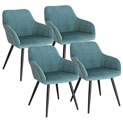 WOLTU 4 x Esszimmerstühle 4er Set Esszimmerstuhl Küchenstuhl Polsterstuhl Design Stuhl mit Armlehne, mit Sitzfläche aus Samt, Gestell aus Metall, Türkis, BH93ts-4