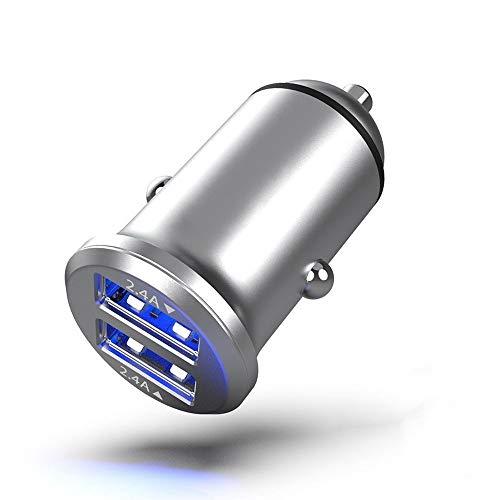 ZXXFR Mini USB Cargador De Coche Adaptador De Coche De Aleación De Aluminio 4.8A USB Cargador para Teléfono Móvil LG Xiaomi Coche Universal Doble De Carga,2 Puerto Plata