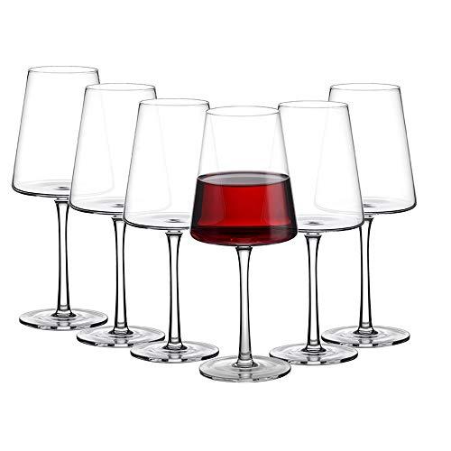 Amisglass Weingläser 500 ml, 6er Set Weinglas für Rotweine und Weißweine, bleifreie & transparente Weinkelche, spülmaschinenfeste Cabernet-Rotweingläser, hochwertige & elegant