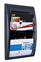 (Black) - Paperflow Quick Fit Systems Wall Mounted 4-Pocket Literature Display, 70cm x 40cm x 9.7cm, Black (4060US.01)