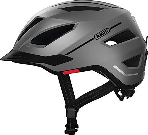 ABUS Pedelec 2.0 Stadthelm - Hochwertiger E-Bike Helm mit Rücklicht für den Stadtverkehr - für Damen und Herren - 81920 - Silber, Größe M