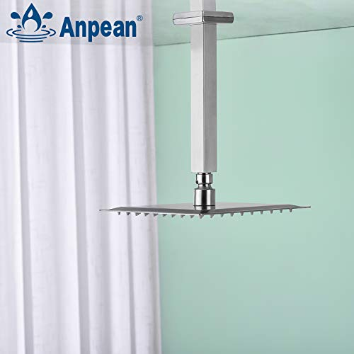 Anpean 8 Inch Square Ceiling Mounted Shower Arm and Flange, Brushed Nickel