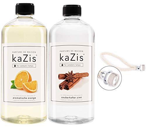 KAZIS® Zimt + Orange + Ersatz-Brenner mit Docht I 2 x 1 Liter I Für alle katalytischen Lampen
