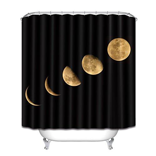 Cortina de chuveiro LB Moon com tema da lua astronomia e universo fase da lua tecido padrão galáxia decoração de banheiro, impermeável 152 x 182 cm