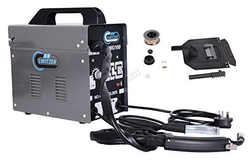 SwitZer Portable Gasless Welder Welding 230V 50-100A Machine with Kits Mask Arc MIG Wire Voltage MIG100 Grey