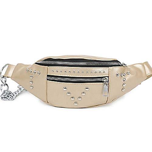 Dames Kralen/Rits PU Tas Taille/Geschikt voor alle soorten outdoor sport rijtas hardlooptas zwart/wit/champagne