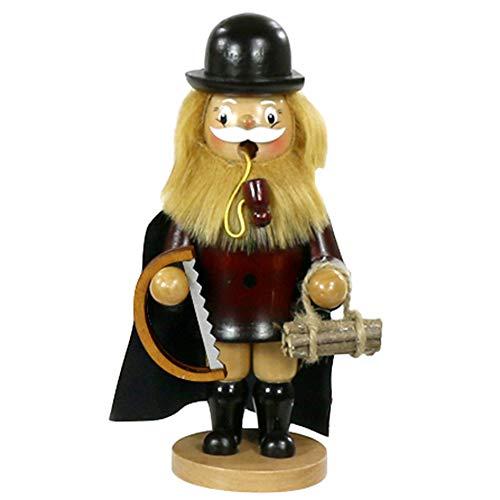Dekohelden24 Wunderschöner Räuchermann als Holzfäller mit Umhang, ca. 17 cm