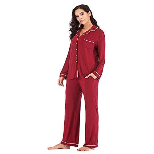 Pijamas de Mujer Primavera Otoño InviernoPijamas Modal Conjunto de Manga Larga Ropa para el hogar