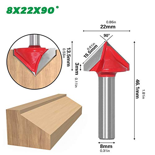 urjipstore 8Mm 3D V Carving Knife CNC Milling Cutter Wood Tungsten Alloy Woodworking Milling Cutter 60/90/120/150 Degree Milling Cutter
