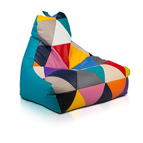 Ecopuf Sitzsack Patchwork Keiko S Mix - Indoor Kunstleder-Beanbag mit Anti-Verlust Reißverschluss